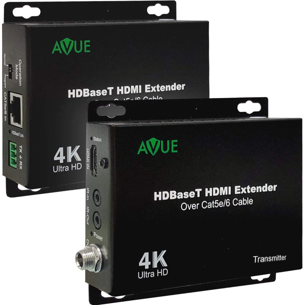 4K HDBaseT HDMI Extender Over Single Cat5e/6 up to 250ft for 1080P and 150ft for 4K Bidirectional IR Control HDCP 2.2/1.4 Compliant No Power Needed on Receiver by AVUE