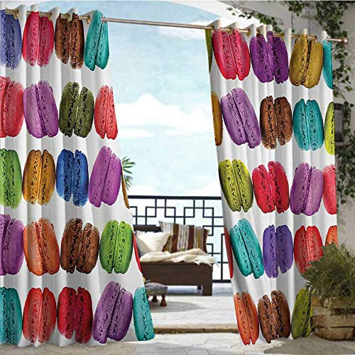 Andrea Sam Exterior/Outside Curtains Colorful Home Decor,French Macarons in a Row Coffee Shop Cookies Flavours Pastry Bakery Design,Multi,W96 xL96 Thermal Insulated Water Repellent Drape for Balcony