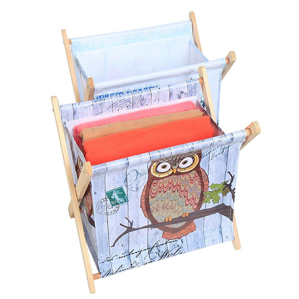 Foldable Storage Baskets - Waterproof Canvas & Pine Wood Storage Bins Square Storage Basket Wooden Shelves Storage for Toys, Desks, Makeup (British flag) by TOPCHANCES (Image #6)