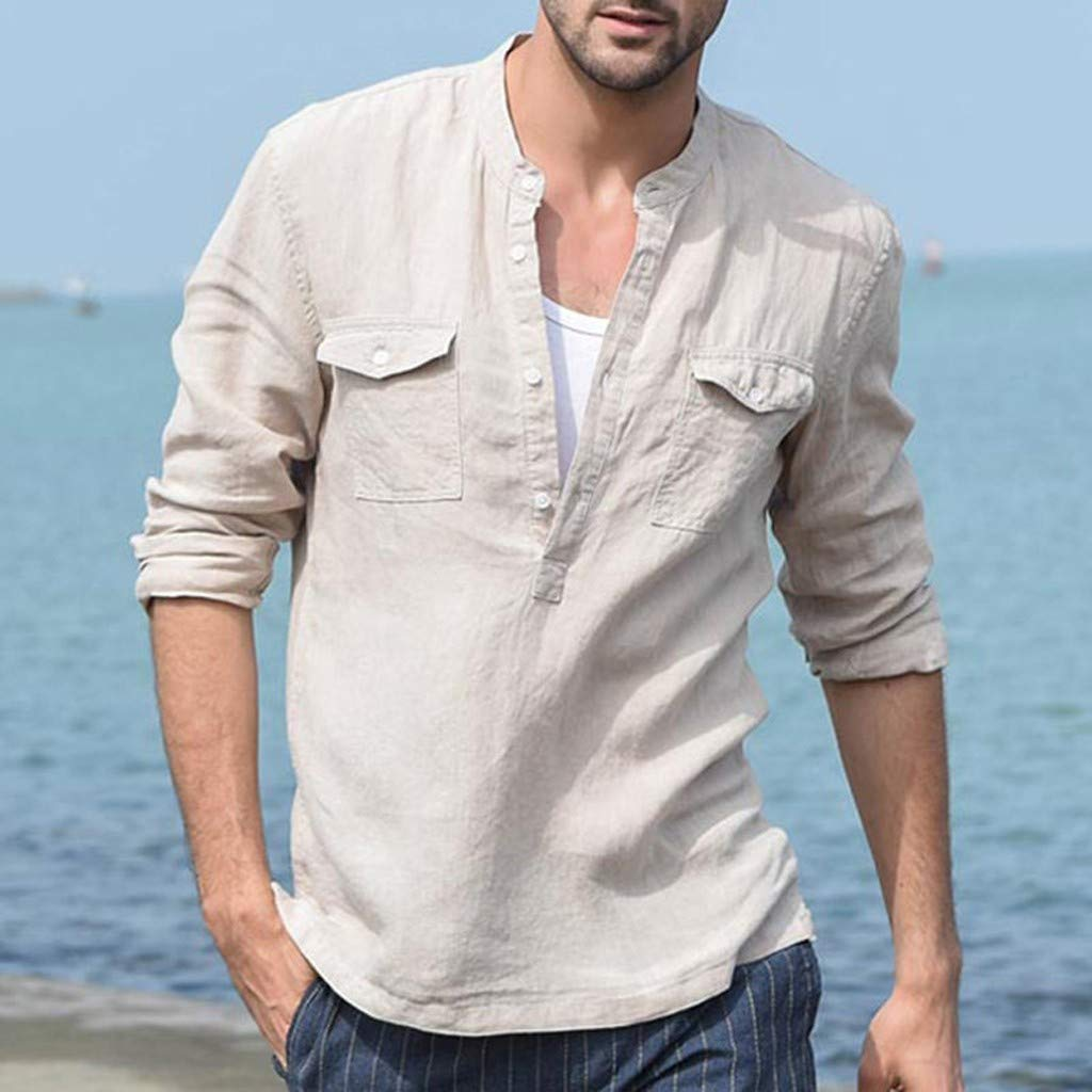 FeiBeauty Summer Mens Daily Leisure Suit Handsome Cool T-Shirt Cotton Linen Thai Hippie Shirt V-Neck Solid Loose Beach Yoga Top Blouse