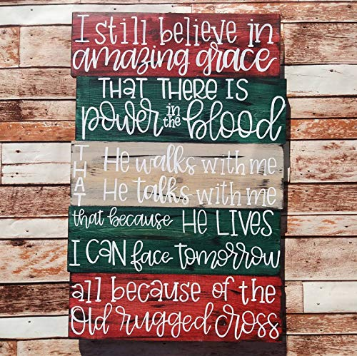 (Adonis554Dan I Still Believe in Amazing Grace Old Rugged Cross Christian Decor Pallet Wall Sign Weathered Rustic Wood Sign Amazing Grace Sign)