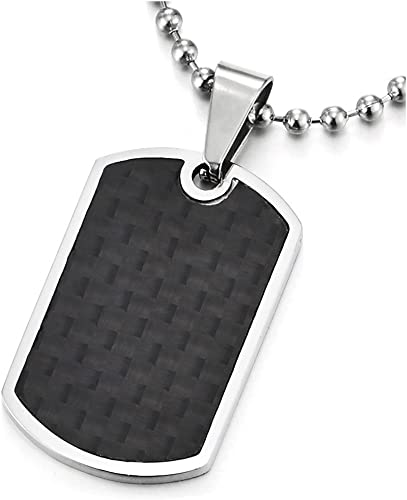 """Fashion Silver Tone Stainless Steel Black Carbon Fiber Dog Tag Mens Necklace 22/"""""""