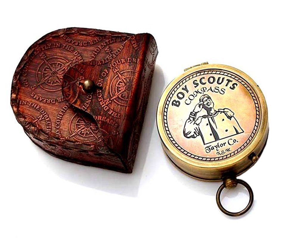 American Boy Scouts Compass/Scout Oath w/Leather Carry Case/Eagle Scout/Scout boy by ROORKEE INSTRUMENTS (INDIA) A NAUTICAL REPRODUCTION HOUSE