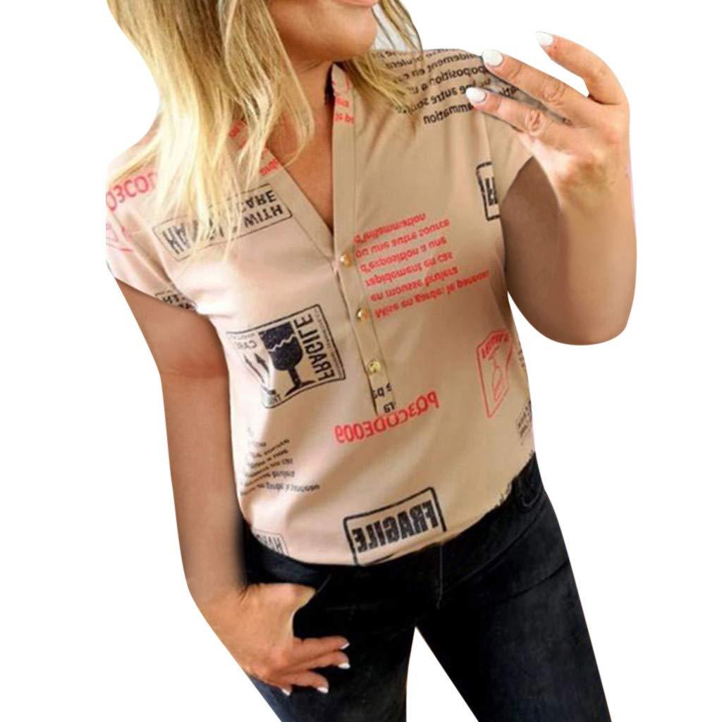 VICGREY Camicetta Donna Elegante Manica Corta Maglietta Donna Tumblr V-Collo Camicie Donna Eleganti T-Shirt Corta Bluse Eleganti Donna Magliette Camicia Top Donna
