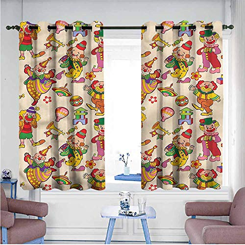Printed Curtain Circus Comedian Musical Clowns Kids Printing Insulation W72 xL63 Suitable for Bedroom,Living,Room,Study, etc.