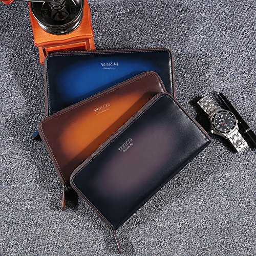 Wallet Clutch TERSE Calfskin Business Long Holder Italian Handbag Leather Card Zipper bag Blue Men Wallet 55ng1