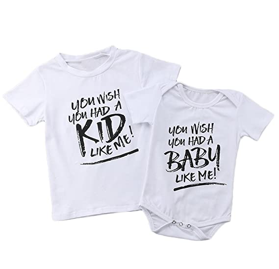 3b3c79f4d Image Unavailable. Image not available for. Color: Matching Clothing Set  Shirt Little Brother Big Brother Romper Outfit Clothes Little Sister Big  Sister Tee