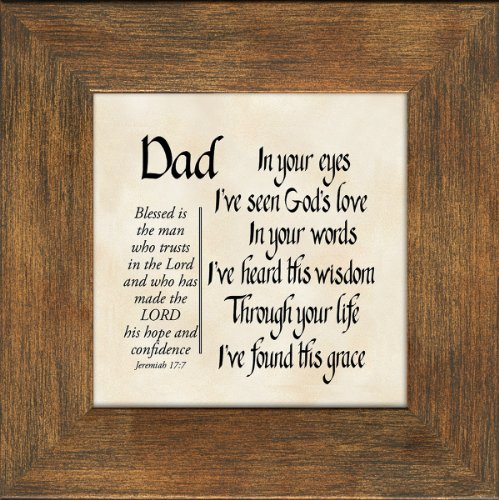 Dad Scripture Jeremiah 17:7 Words of Encouragement and Appreciation Frame 3.5X3.5 Gift with Built in Easel for Fathers Day or Birthday