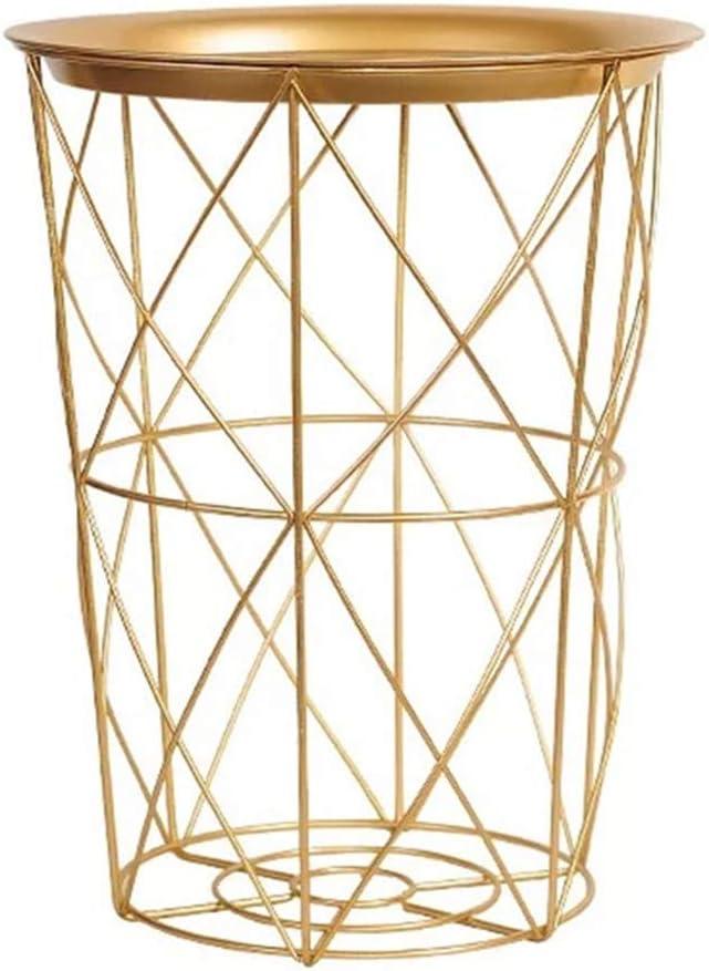 Kimmyer Best Choice Products - Mesa Auxiliar Redonda de Arte de Hierro con Almacenamiento, pequeño Marco de Metal, patrón geométrico de Ojales, Muebles de Dormitorio Modernos y Elegantes, Dorado