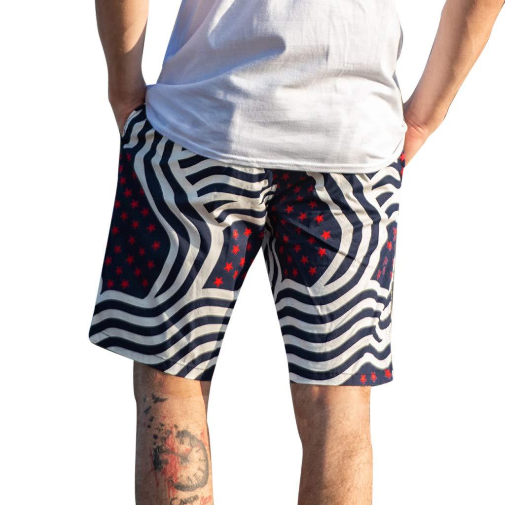 LuckyGirls Hombres Pantalones de Playa Estampado Rayas y Estrellas ...