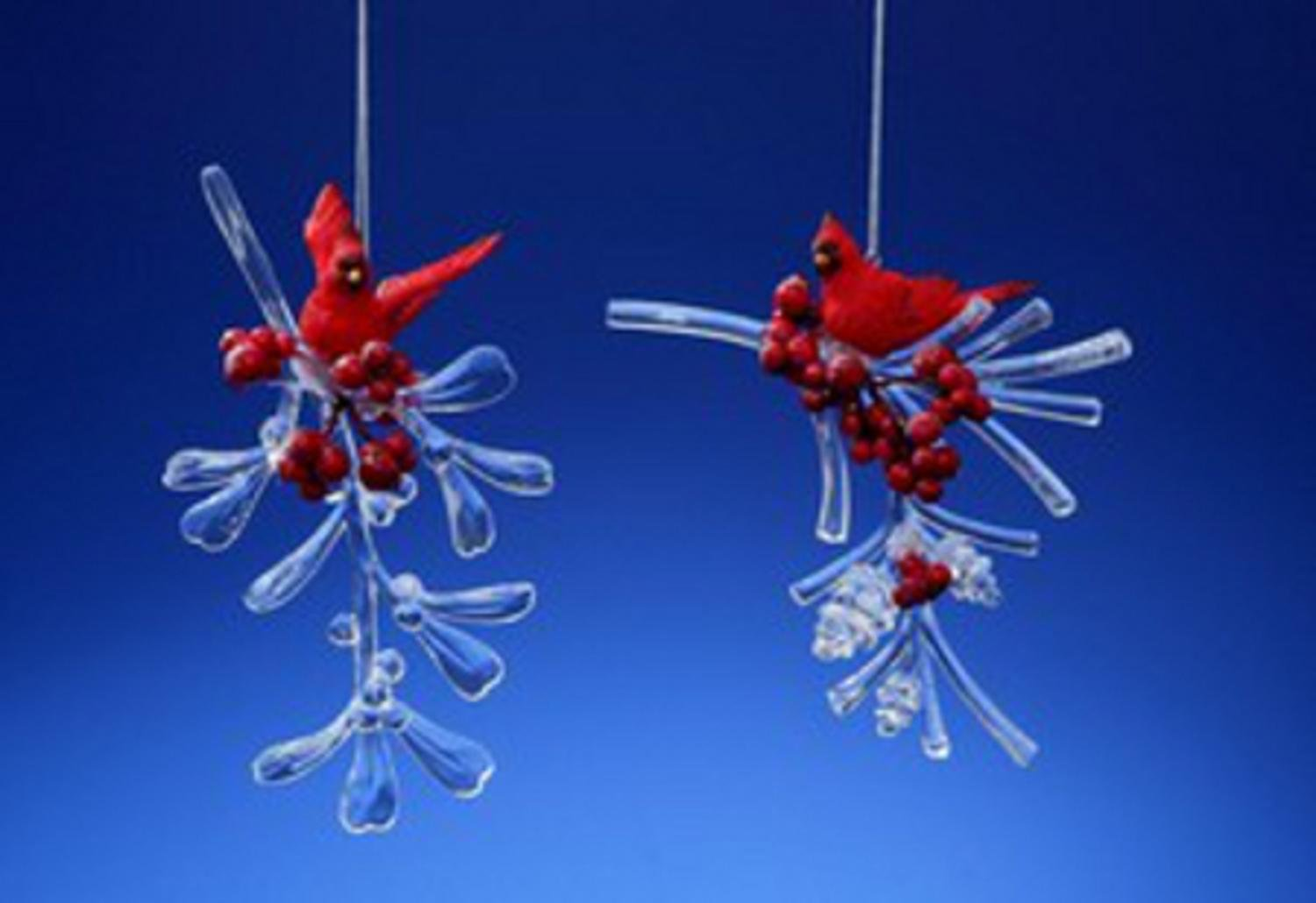 Club Pack of 12 Icy Crystal Decorative Cardinal Berry Branches Ornaments 4''