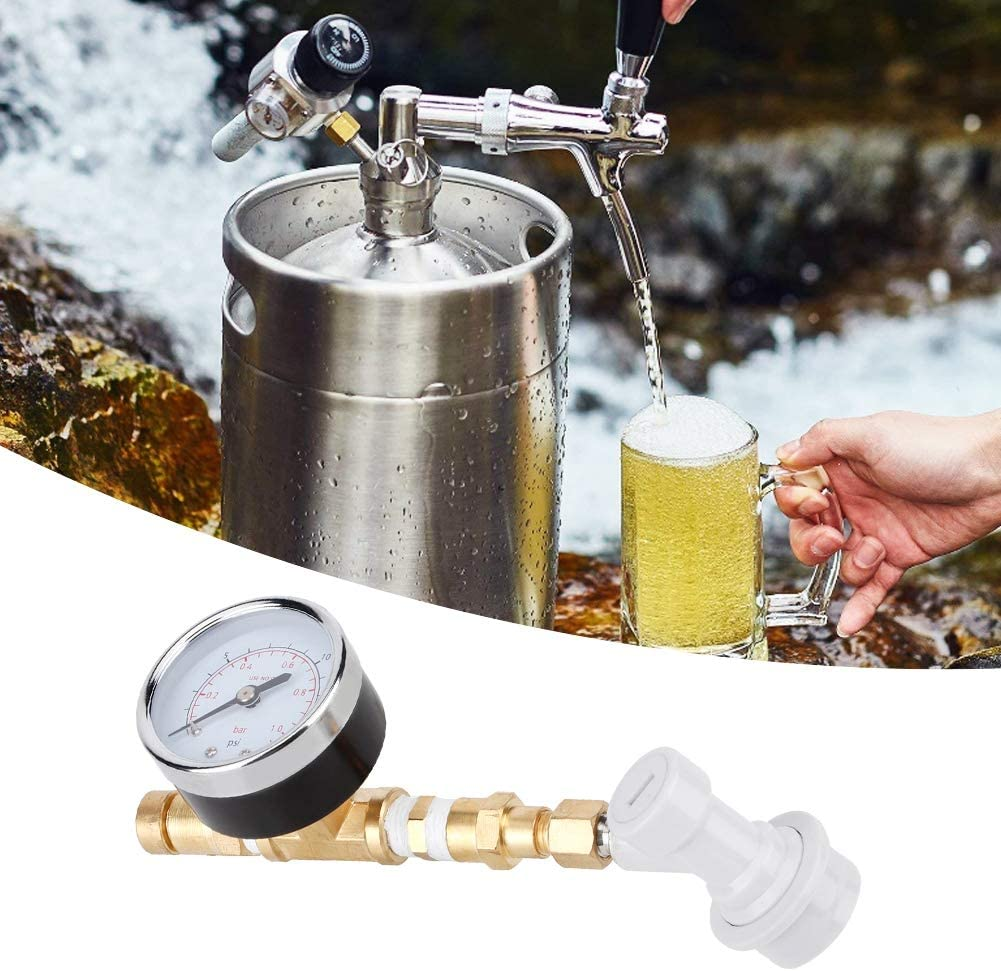 Adjustable Release Valve Relief Valve Assembly Brewing Equipment Ball Lock with Gauge 0-15psi Homebrew Pressure Relief Valve 0-1bar