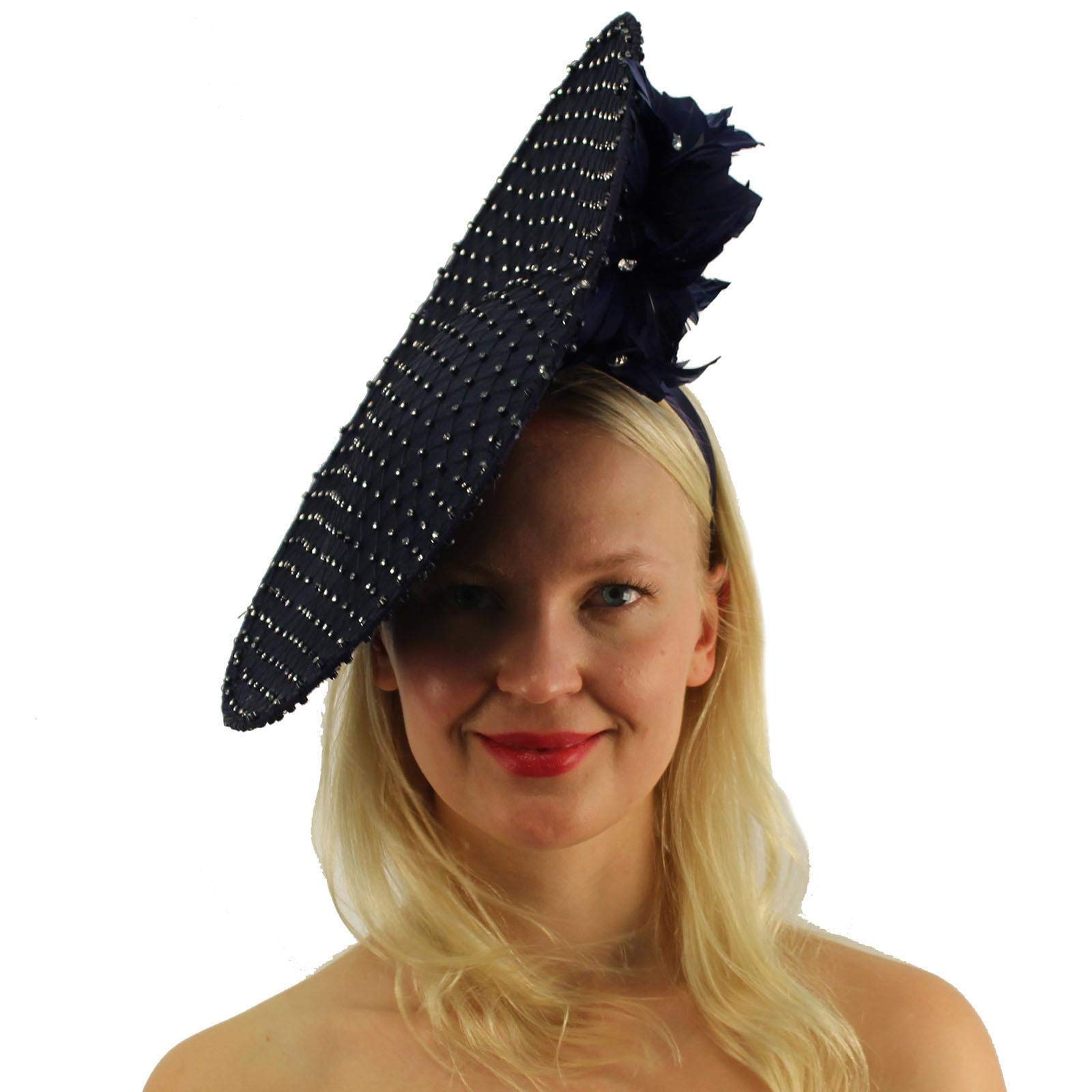 Royal Rhinestones Netting Feathers Fascinators Headband Cocktail Derby Hat Navy