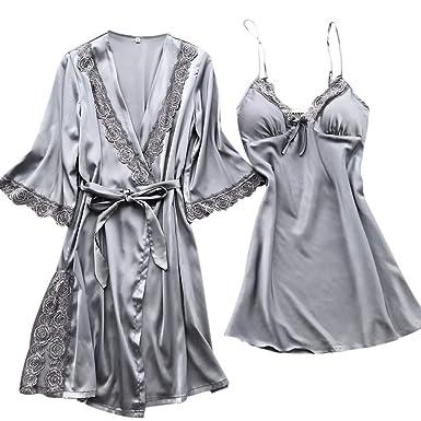 e63f9e881 Women's Lace Trim Satin Kimono Robe Nightwear & Silky Strappy Long Chemise  Nightgown Set Sleepwear Short Bathrobe at Amazon Women's Clothing store: