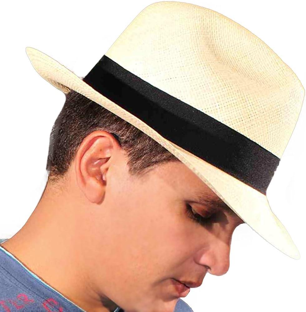 Gamboa Sombrero de Panama Genuino Sombrero de Paja Marron Claro Unisex Fedora