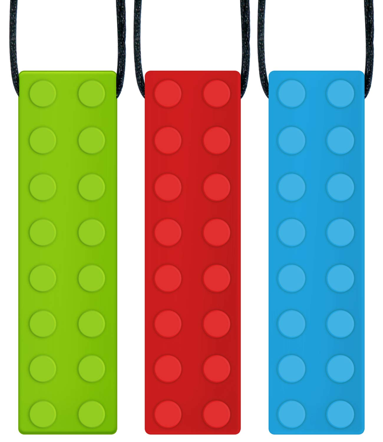 Panny & Mody Sensory Chew Necklace Pendant Chewable Jewelry Set for Boys and Girls(3 Pack), Silicone Oral Motor Sticks for Kids with ADHD, Teething, Autism, Biting Needs (Red, Green, Blue)