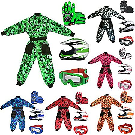 Leopard LEO-X16 Pink Kids Motocross Motorbike Helmet (S 49-50cm) & Gloves (S 5cm) & Goggles & Camo Motocross Suit Jacket (XS 3-4 Yrs) Touch Global Ltd