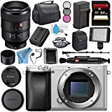 Sony Alpha a6300 Mirrorless Digital Camera (Silver) ILCE-6300/S + Sony FE 100mm f/2.8 STF GM OSS Lens SEL100F28GM + NP-FW50 Replacement Lithium Ion Battery + External Rapid Charger Bundle