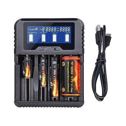 14500 18650 26650 Cargador de batería QC3.0 Tipo C Cargador ...