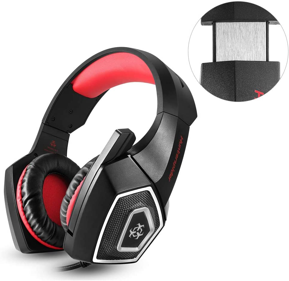 LFJNET V-1 Gaming Headset RGB Illuminated Wired Headphones Universal for Smart Phone Notebook red
