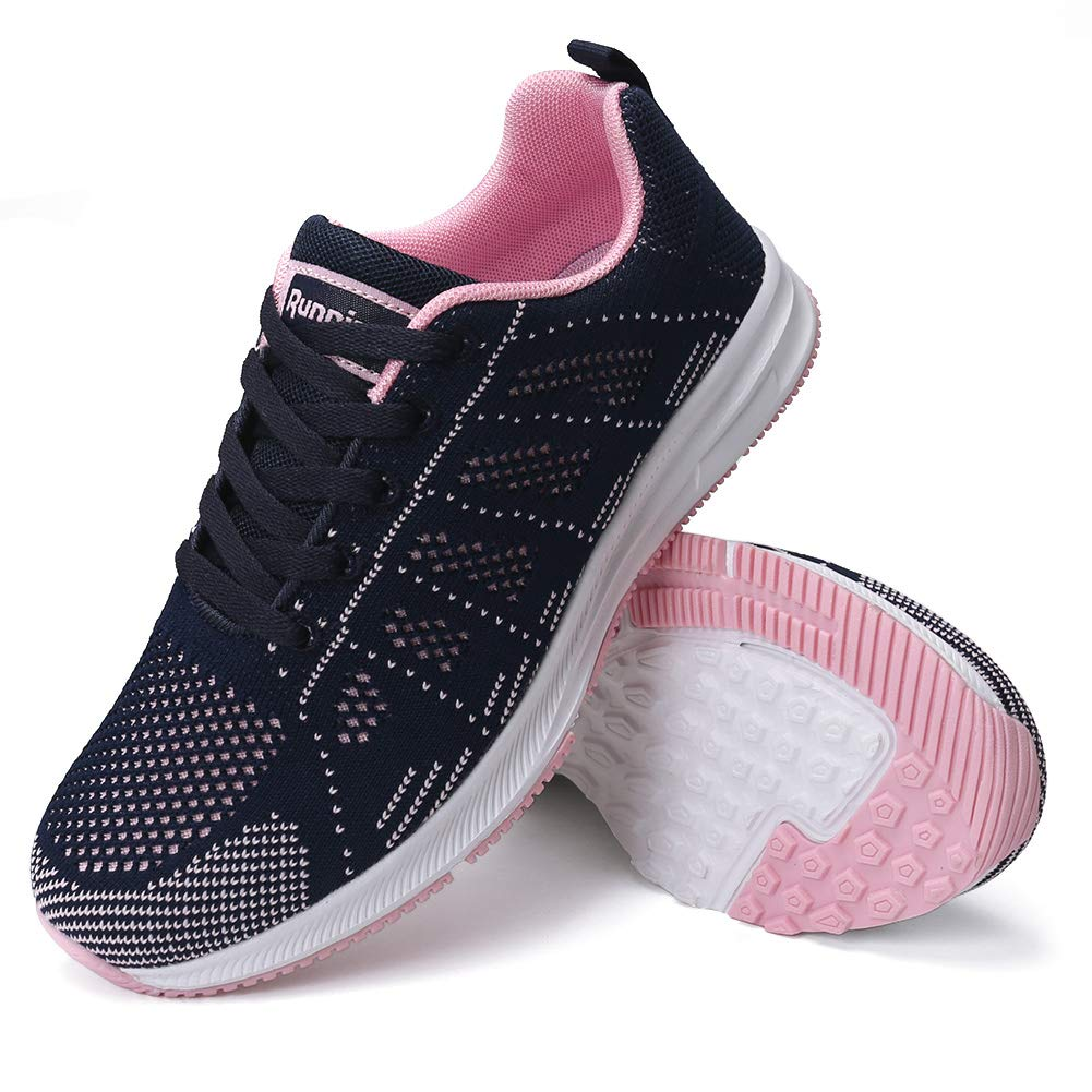 FUDYNMALC Walking Shoes for Women Casual Lace Up Athletic Tennis Shoes Comfortable Non Slip Sneakers Breathable Mesh Running Gym Shoes