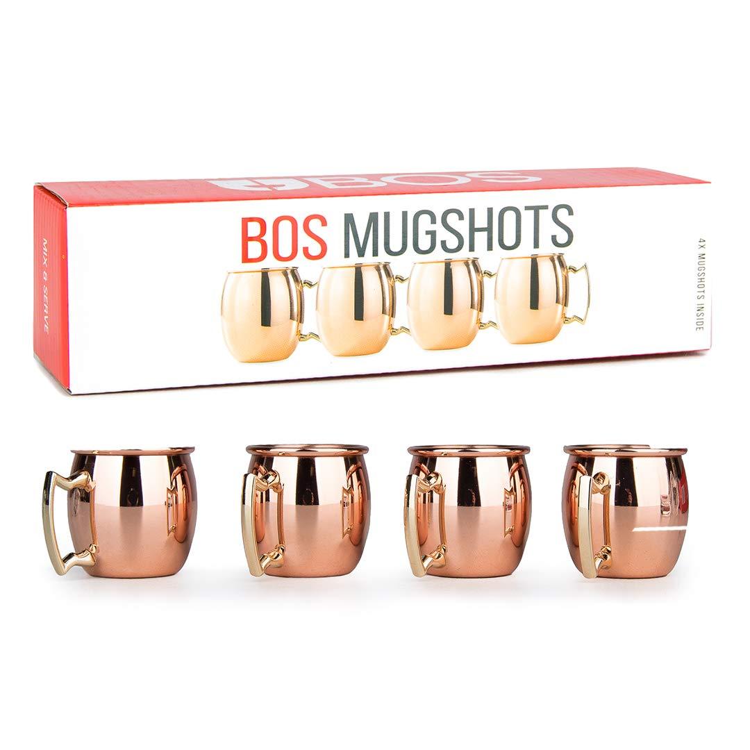 Mini Moscow Mule Copper Espresso Shot Glasses: Cute 2oz Mugs for Mini Bar | Set of 4 | Perfect Shotglass Gift for Men and Women, Bachelorette or Wedding Party