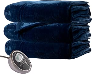 Sunbeam Queen Premium Soft Electric Heated Blanket Velveteen Plush 20 Heat Settings, Dual Controls, Silver Grey (Royal Blue)
