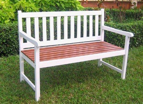 International Caravan VF-4110-Wht/OK-IC Furniture Piece Outdoor 4 Foot Wood Bench