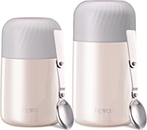 FEWOO Food Jar - 2 Pack 27oz + 20 oz Vacuum Insulated Stainless Steel Lunch Thermos, Leak Proof Soup Containers with Folding Spoon for Hot or Cold Food (White)