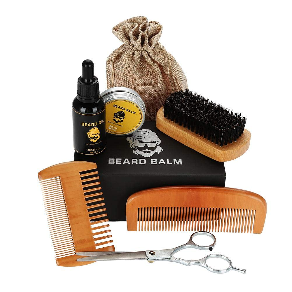 Beard Trimmers Kit with Beard Oils, Comb, Balm Butter, Barber Scissors, Brush Moustache Shaping & Grooming Trimming Shave Tool Sets for Man Sonew