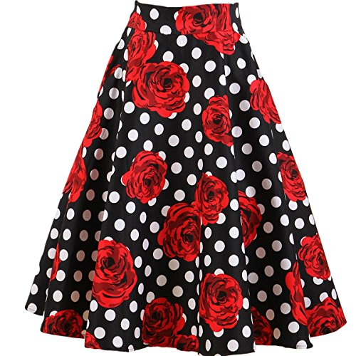 Femme Pleated rtro Jupe Vintage Style Ylangareee Red Vintage Short Pois t Haute Femme 1950 pour New Taille lgante Bqxx5v