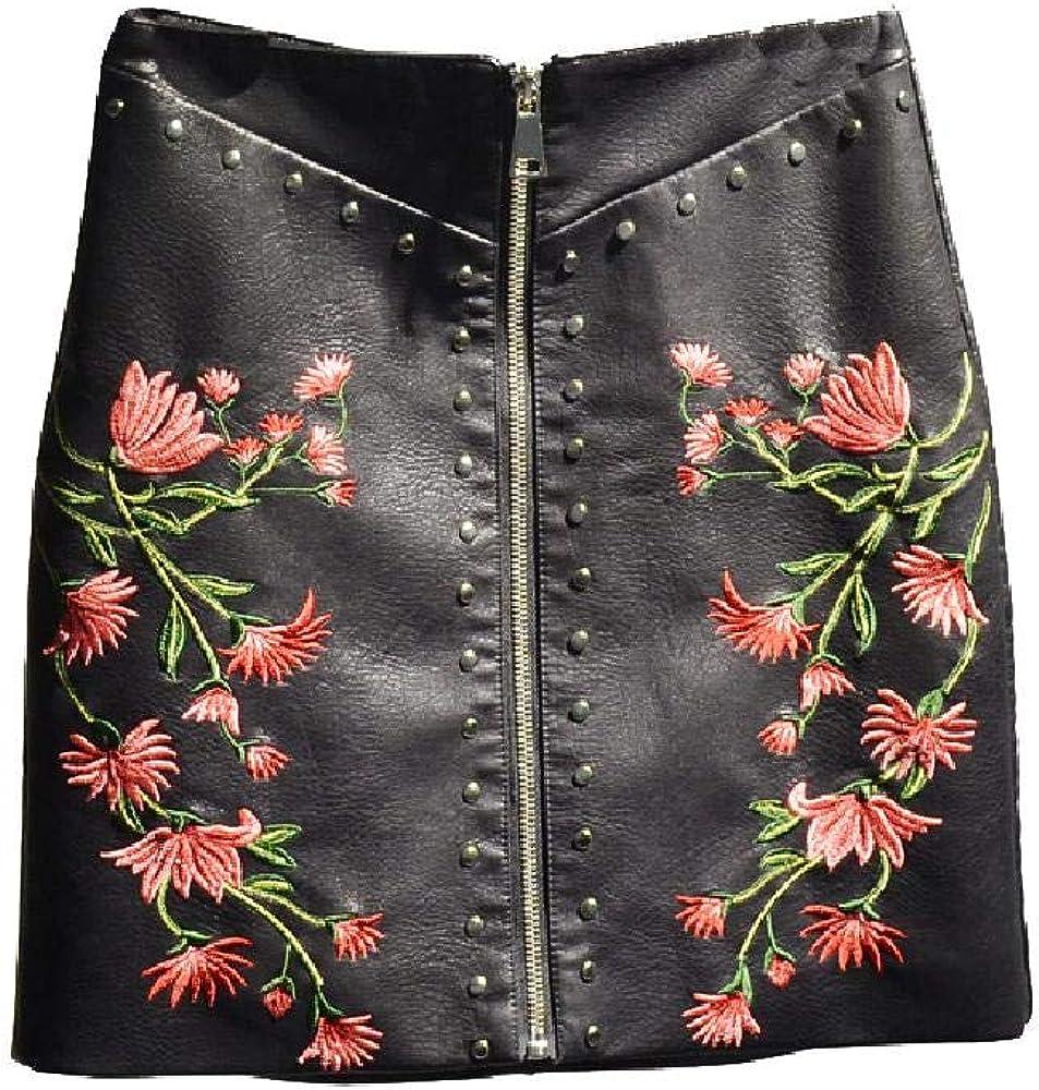 NObrand Falda de Remache Bordada Falda de Mujer de una línea