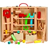 Children's DIY Carpenters Toy Building & Learning Playset, 26 Piece Portable Kit, Multicoloured Wooden Tools and Carry Case