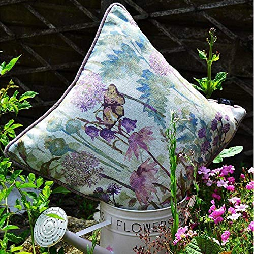 McAlister Wild Flower Plush Linen Floral Pillow Cover Sham   20x20 Lilac Heather Pink Purple Decorative Throw Cushion Sham   Chinoiseries Farmhouse Accent, Country Cabin Rustic Decor