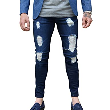 Skinny Vaqueros Hombre - Fashion Slim Fit Pantalones Rotos ...