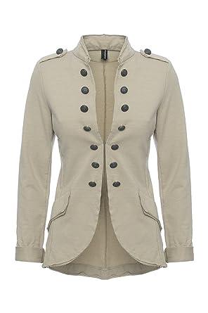94f3f99e0dfa Madonna Damen Blazer Damenjacke Admiral Jacke Military Blogger S - XXL  XXXL, Farbe beige