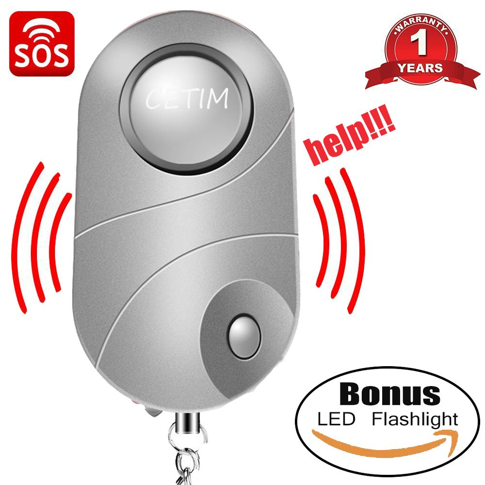 CETIM Personal Alarm, 140dB Emergency Self-Defense Security Alarm Keychain With Mini Flashlight and Keychain Design, Ideal for Students, Kids, Women Safety, Batteries Included (Silver)