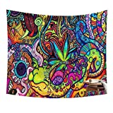 Chengsan Psychedelic Tapestry, Abstract Unusual Figure with Color and Form Details Hippie Arabesque Retro Pattern, Wall Hanging for Bedroom Living Room Dorm