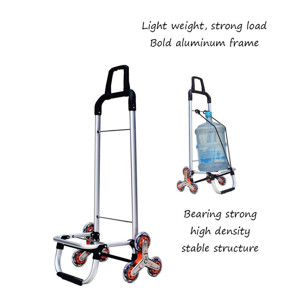 Xilinshop Portable Utility Carts Aluminum Alloy Shopping Cart Can Climb Stairs Shopping Cart Portable Folding Household Trailer ( Color : A )