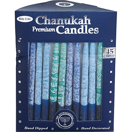 Rite-Lite Judaica Hand-Dipped Shades of Blue 5 3/4-Inch Chanukah Candles, Box of 45 by Rite Lite