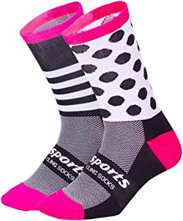 Amyove Unisexe Long Tube Professionnel Respirant Cyclisme Chaussettes de Sport Occasionnels Chaussettes de Sport décontractées Rose Noir L (39-46)