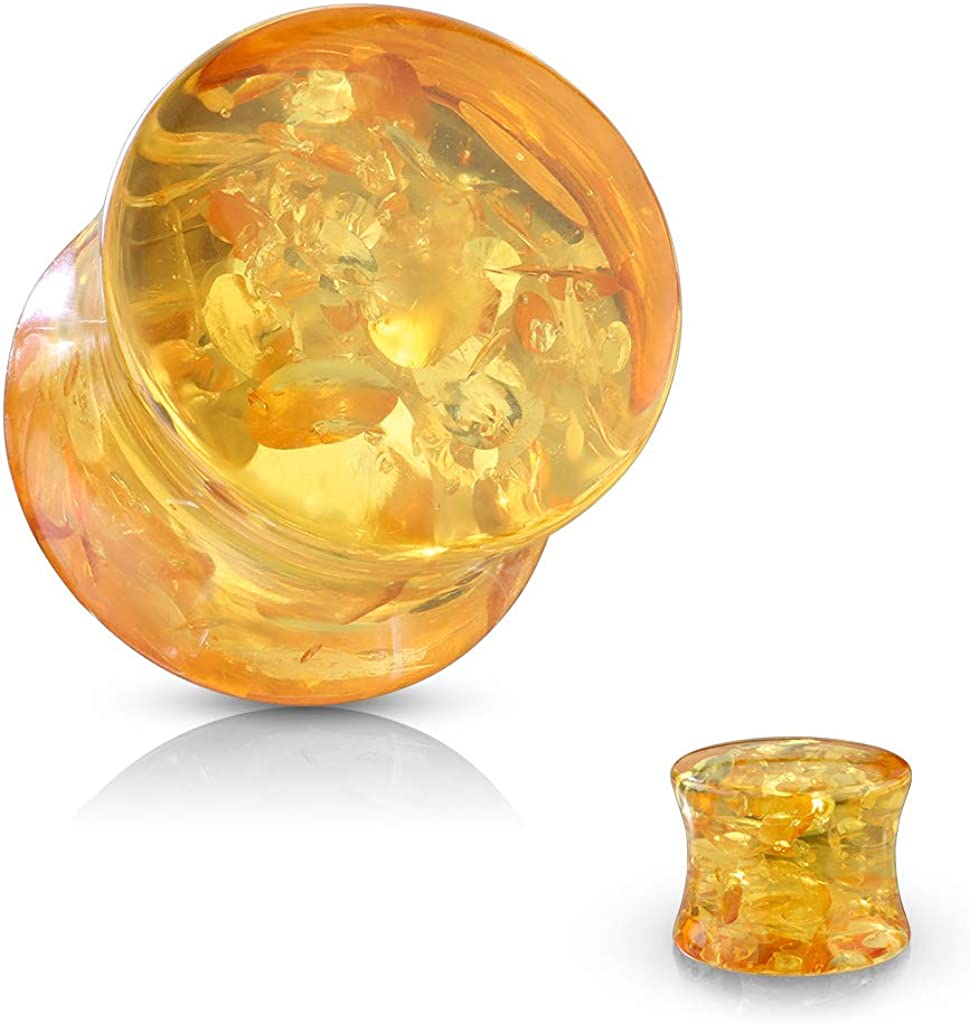 Sold as a Pair Pierced Owl Imitation Amber Double Flared Solid Saddle Plugs
