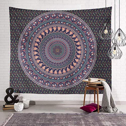 AITREASURE Watercolor Elephant Tapestry Wall Hanging Bohemian Psychedelic Wall Tapestry Mandala for Bedroom Living Room Dorms (Grey Peacock, 59''×79'' )