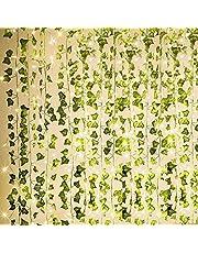 KASZOO 84 fot 12-pack konstgjord murgröna girlang falska växter klätterväxt hängande girlang med 80 LED ljusslinga hängande för hem kök trädgård kontor bröllop väggdekor grön
