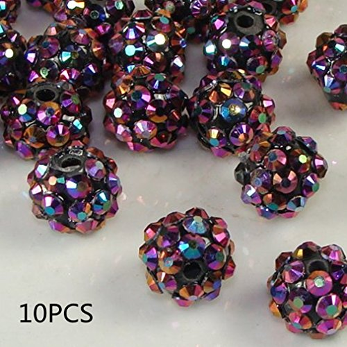 - 10mm 20pcs/Lot Clay Pave Disco Round Ball Rhinestone Crystal Shamballa Beads Charms for Women Jewelry Makings by TheBigThumb