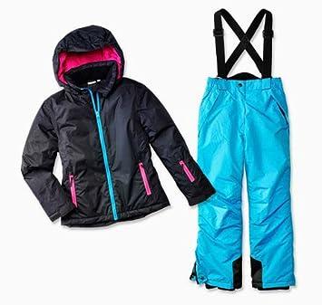 Pocopiano - Traje de esquí para niña (2 piezas, talla 140, chaqueta insulada), color negro/rosa: Amazon.es: Deportes y aire libre