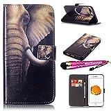 iPhone 8 Plus - Case, iPhone 7 Plus - Case, MerKuyom [Kickstand] Premium PU Leather Wallet Pouch Flap Cover Skin Case For Apple iPhone 7 Plus/iPhone 8 Plus 5.5'', Stylus (Cool Elephant Head)