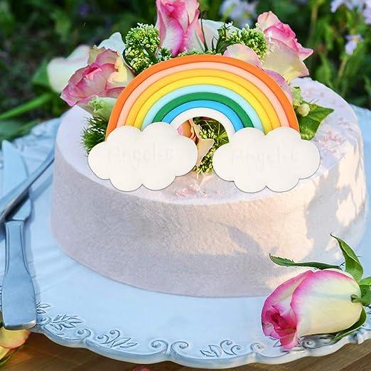 Matrimoni Rainbow stereoscopica Topper per Torta a Forma di Fondente Decorazione per Feste di Compleanno a Forma di Grande Stella Arcobaleno in Argilla Morbida litty089