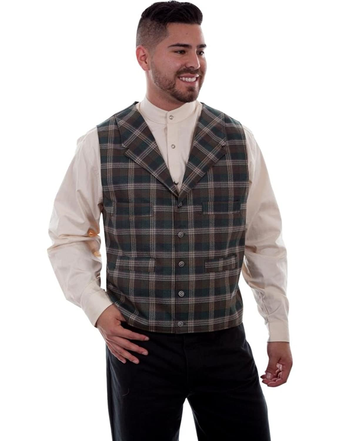 Men's Vintage Vests, Sweater Vests Scully Western Vest Mens 4 Pocket Button Plaid Wahmaker 541514 $79.85 AT vintagedancer.com