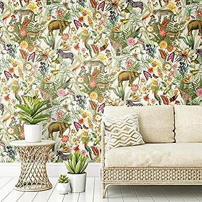 Roommates Tropical Zoo Peel And Stick Wallpaper Amazon Co Uk Diy Tools